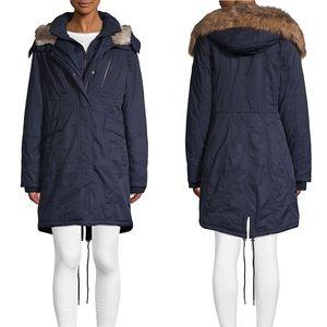 1 MADISON Faux Fur Trim Hooded Coat